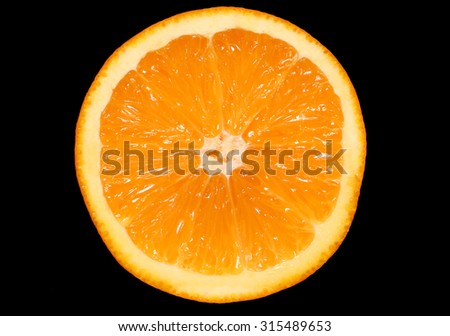 inside of orange on black background