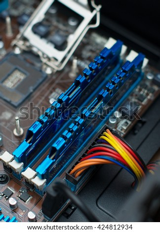 Inside of pc. Motherboard, CPU socket and RAM memory. - stock photo