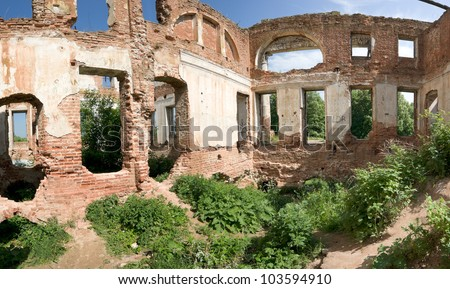 inside of ruined brick mansion, Serpuhov, Russia - stock photo
