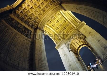 Inside of the Arc de Triomphe in Paris. - stock photo