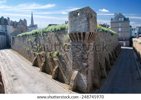 Inside of the fortificated town Saint-Malo in Britanny - France - stock photo