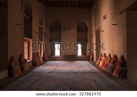 Inside of the Nizwa Fort in Nizwa, Oman