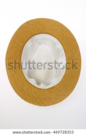 Inside of weaving hat isolated on white background.
