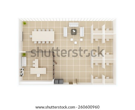 Inside Office floor plan top view. Office cabin, conference room table, boss cabin, rest area w sofa. - stock photo