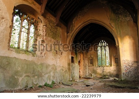 Inside on a very old abandoned Church in Norfolk, England