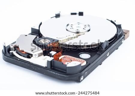 Inside photo of hard disk drive - closeup view - stock photo