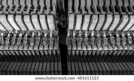 inside piano wooden parts closeup