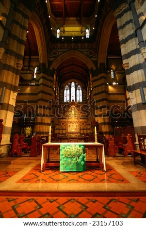 inside St Mary's Cathedral, Melbourne, New South Wales, Australia - stock photo