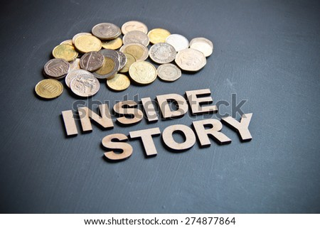 Inside story concept written with wooden letters on blackboard. This photo can use as Business background.  - stock photo