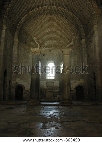 inside the ancient church - stock photo