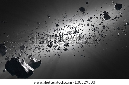 Inside the Asteroid belt  seen against the sun in deep space - stock photo