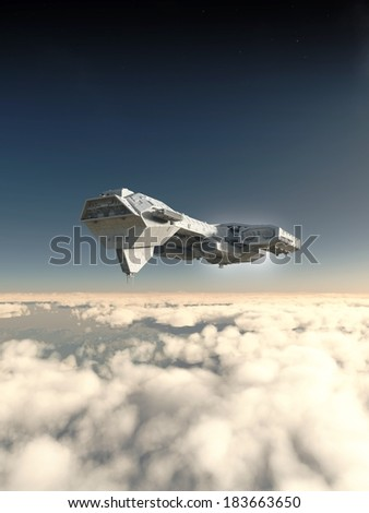 Inside the Atmosphere. Science fiction spaceship inside the atmosphere of an earth-like planet, 3d digitally rendered illustration - stock photo