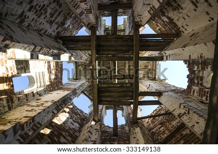 Inside the bell tower. Russia, Arkhangelsk region, Uhtostrov