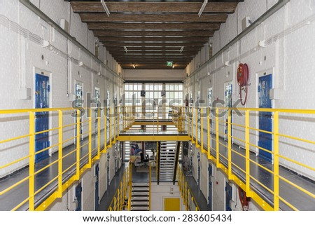 inside the blokhuispoort prison in holland - stock photo