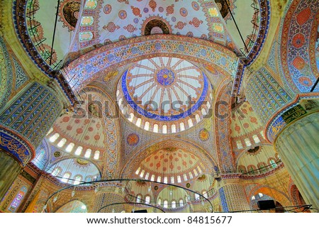 Inside the Blue mosque in Istanbul, Turkey - stock photo
