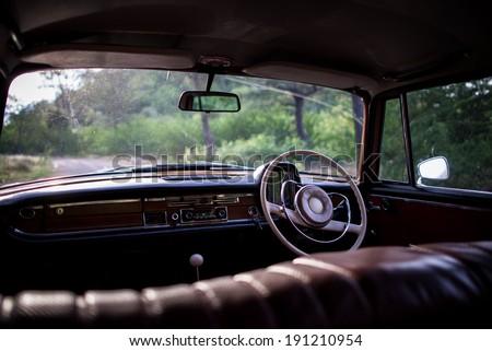 Inside the car, Classic car - stock photo