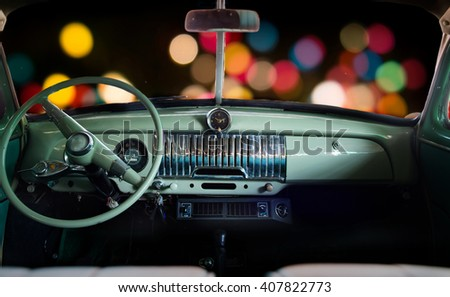 Inside the car, Classic car at night.