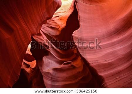 inside the colorful lower antelope canyon, near page  arizona - stock photo