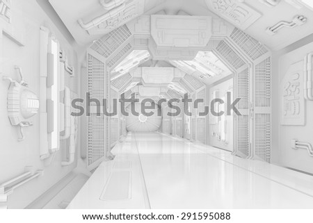 Inside the hallway of a futuristic science-fiction spaceship (3D Rendering) - stock photo