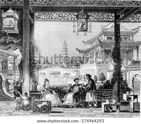 Inside the house of a mandarin in Beijing, vintage engraved illustration. Magasin Pittoresque 1844.