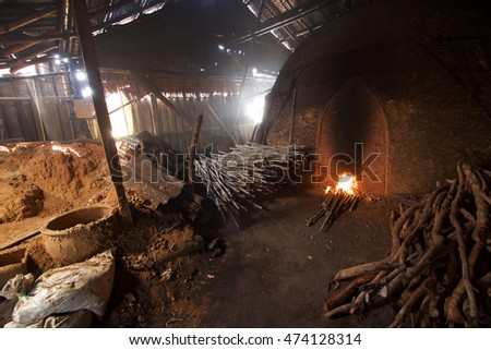 inside the incinerator made of old wood