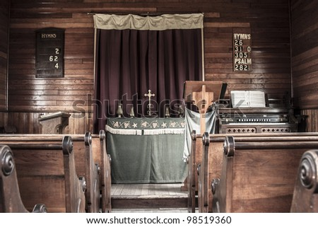Inside the interior of an old vintage church - stock photo