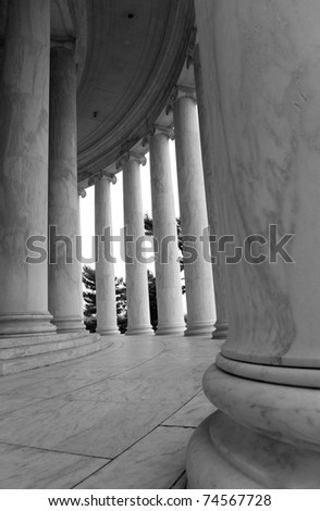 Inside the Jefferson monument, in Washington DC.