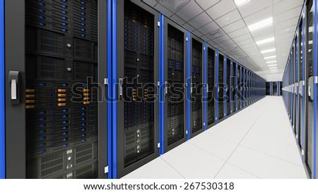 Inside the long server room tunnel 3d render - stock photo