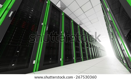 Inside the long server room tunnel with bright end 3d render - stock photo