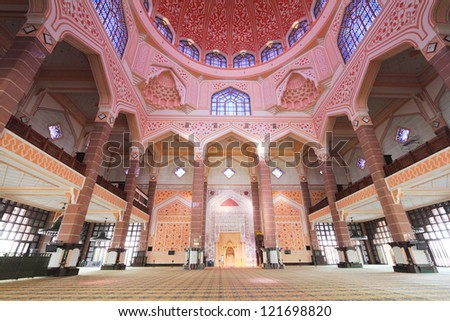 inside the Putra Mosque - stock photo