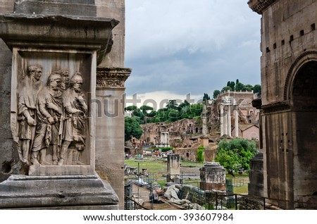 Inside the ruins of the famous Forum Romanum in Rome, Italy - stock photo