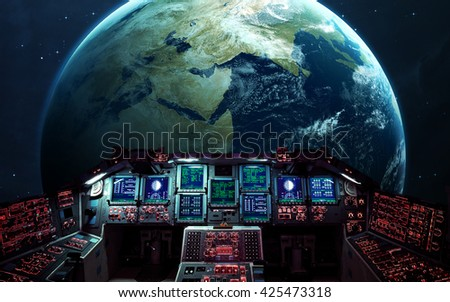 Inside the space shuttle. Elements furnished by NASA - stock photo