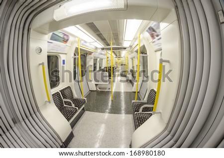 Inside the train. London underground. - stock photo