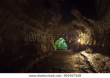 Inside the tunnel of Thurston Lava Tube in Hawaii Volcanoes National Park