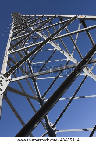 Inside view of a high-voltage electric pylon - stock photo