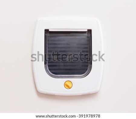 Inside view of a regular white cat flap on a light door, cat comming through - stock photo