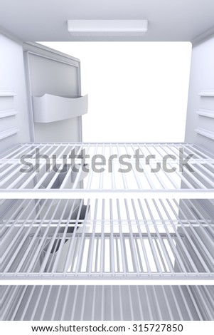 Inside view of an empty white fridge with open door - stock photo