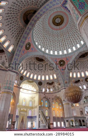 Inside view of Kocatepe Mosque in Ankara, Turkey - stock photo