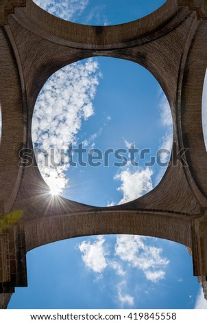 Inside view of some arches in ruins of the cathedral of Antigua Guatemala