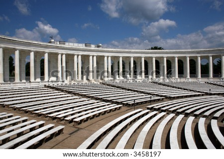 Inside view of the amphitheater in front of the tomb of the unknown soldier, Arlington Cemetery, VA - stock photo
