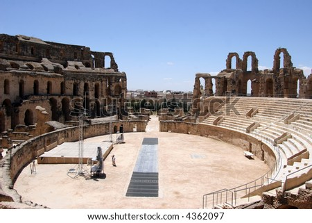 Inside view of the Roman coliseum of Thysdrus at El Jem, Tunisia still in use for classical concerts