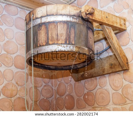 Inside view of traditional sauna with some equipment . - stock photo
