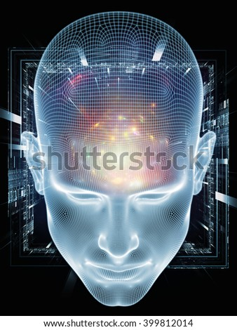 Insight In Mind series. Design composed of human head rendering and conceptual element as a metaphor on the subject of brain,  thinking, science, technology and education - stock photo