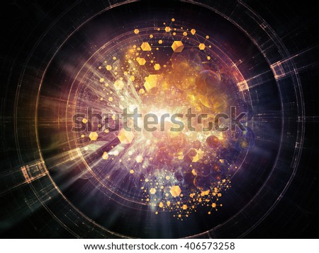 Insight Into Matter series. Composition of conceptual atomic structures and fractal elements on the subject of physics, chemistry, science and education - stock photo