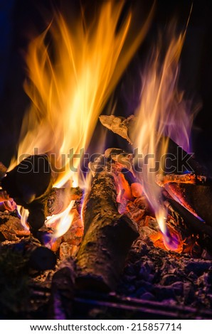 insight into the fire and flames - stock photo