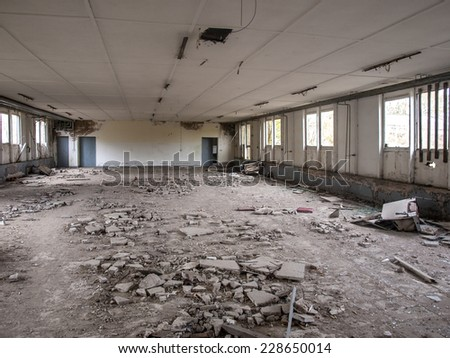 Insights into an old forgotten warehouse - stock photo