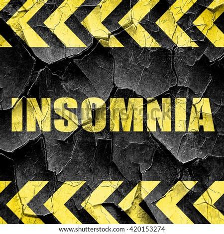 insomnia, black and yellow rough hazard stripes - stock photo