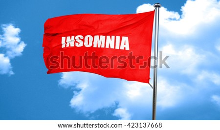 insomnia, 3D rendering, a red waving flag - stock photo