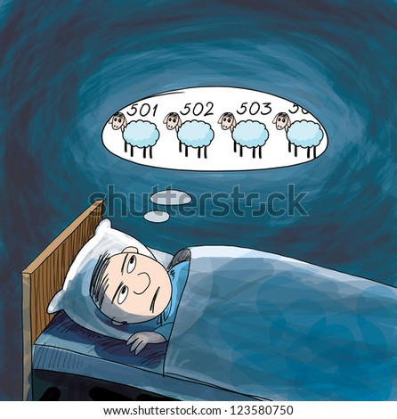 Insomnia. He counting sheep. Cartoon illustration. - stock photo