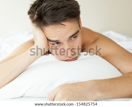 Insomnia. Man with lack of sleep. - stock photo
